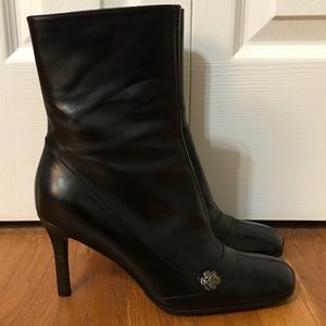 CHANEL Camellia Leather Ankle Booties - Sz 37.5